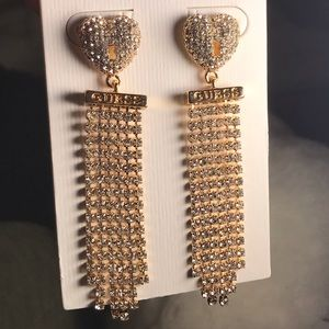 Guess crystal heart and fringe drop earrings